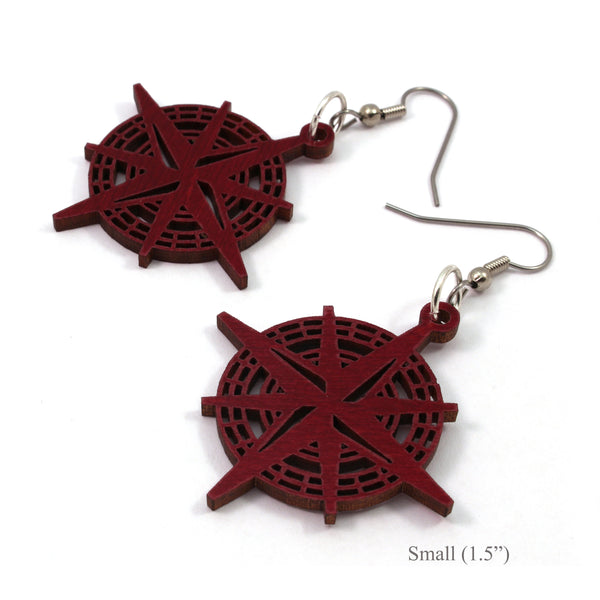 Compass Rose Walnut Wooden Earrings