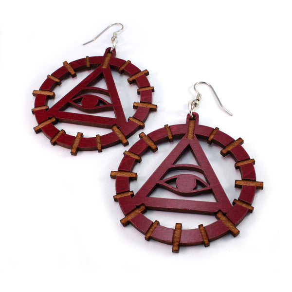 The Eye of Providence Wooden Earrings