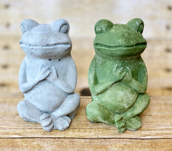 Cement Figure Prayer Frog (Made In Pennsylvania)