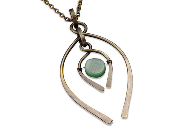 Antiqued Brass and Aventurine Necklace