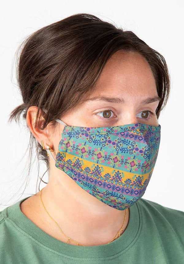 Teal Borders Face Mask