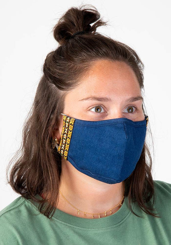 Mustard Denim Trim Face Mask