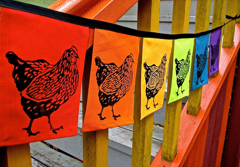 Rainbow Chicken Indoor/Outdoor Flags