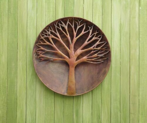 Raised Tree Flamed Wall Disc Large