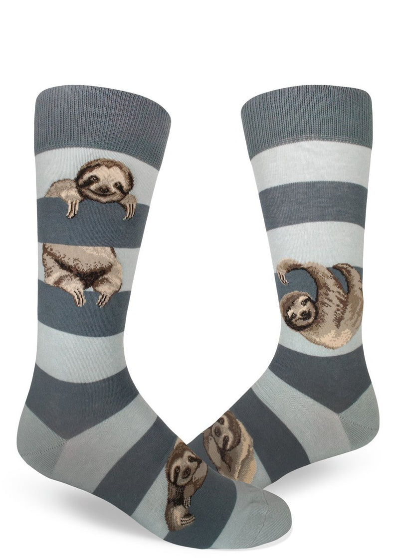 Sloth Stripe Men's Crew Socks