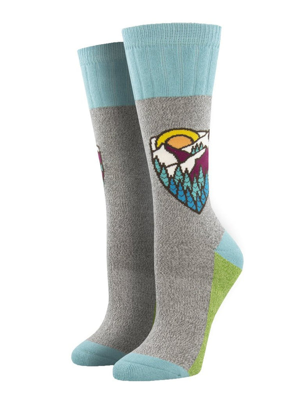 Mountain Top Light Gray Womens Socks