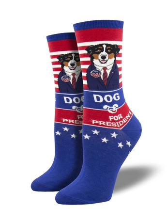 WOMEN'S DOG FOR PRESIDENT - BLUE SOCKS