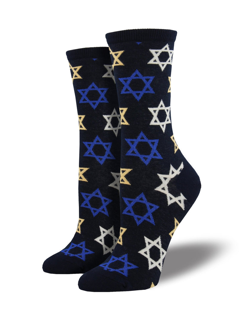 WOMEN'S STAR OF DAVID - NAVY SOCKS