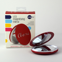 Load image into Gallery viewer, Violife LED lights magnifying mirror - Cheers