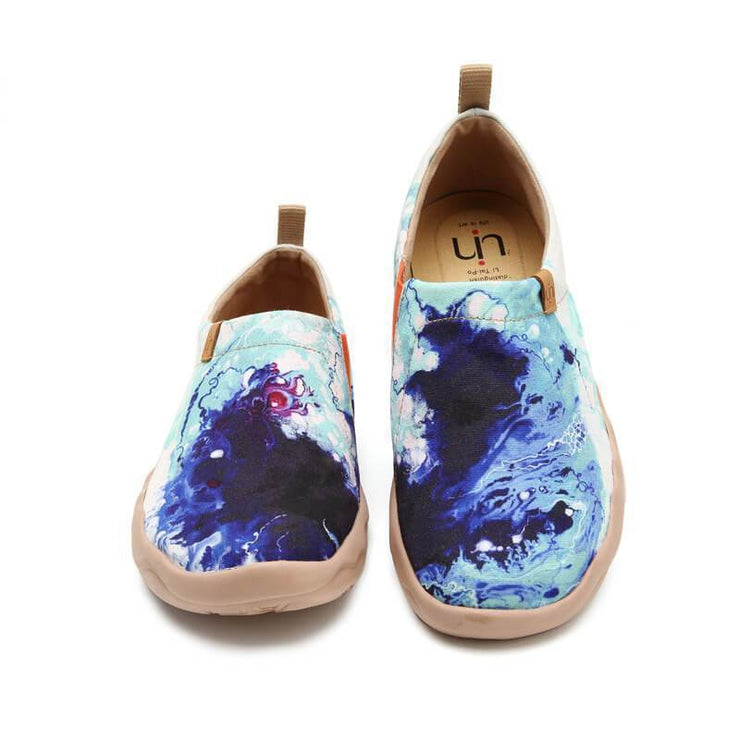 MOTTLED BLUE Abtract Painting Men Loafers - AUE UIN FOOTWEAR
