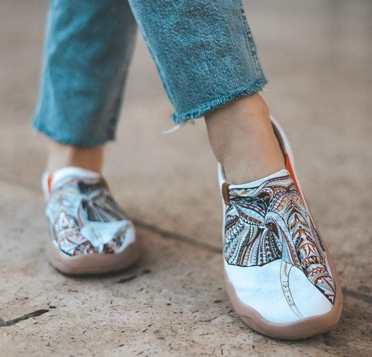 ELEPHANT Art Painted White Canvas Slip-ons for Ladies - AUE UIN FOOTWEAR