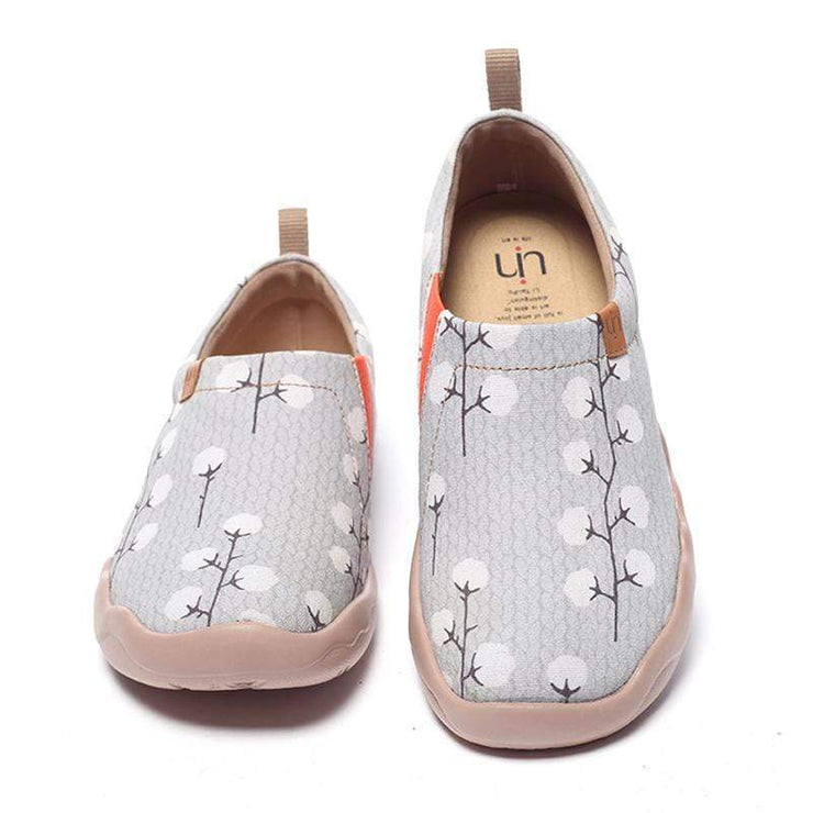 NUDE COTTON Female Grey Canvas Slip-ons - AUE UIN FOOTWEAR