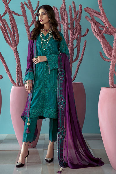 Gul Ahmed 3 PC Unstitched Embroidered Lawn Suit with Chiffon Dupatta LE-20
