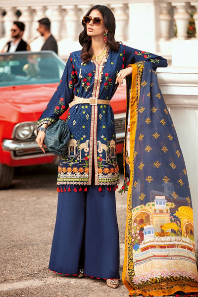 Gul Ahmed 3 PC Unstitched Embroidered Lawn Suit with Tissue Silk Dupatta SSM-40