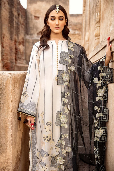 Gul Ahmed 3 PC Unstitched Embroidered Jacquard Suit with cotton net dupatta MJ-39