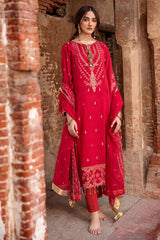 Gul Ahmed 3 PC Unstitched Embroidered Jacquard Suit with tissue silk dupatta MJ-42