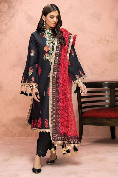 Gul Ahmed 3 PC Unstitched Embroidered Lawn Suit with Net Dupatta PM-330