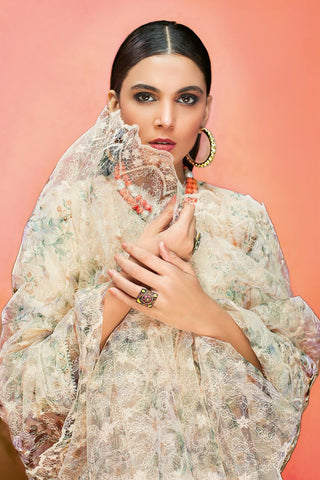 Gul Ahmed 3 PC Unstitched Embroidered Lawn Suit with Net Dupatta PM-335