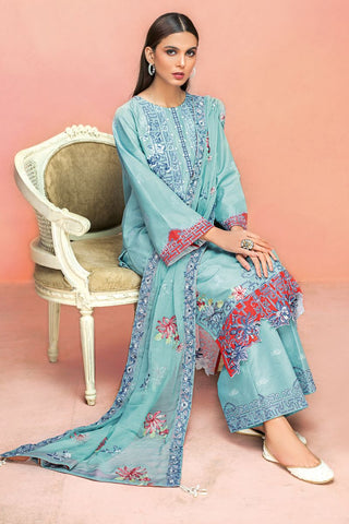Gul Ahmed 3 PC Unstitched Embroidered Lawn Suit with Chiffon Dupatta PM-322