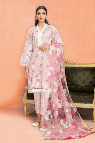 Gul Ahmed 3 PC Unstitched Embroidered Lawn Suit with Net Dupatta PM-339