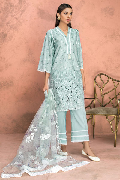 Gul Ahmed 3 PC Unstitched Embroidered Lawn Suit with Net Dupatta PM-338