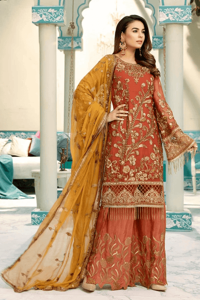 Emaan Adeel Embroidered Chiffon Unstitched 3 Piece Suit EA20-C10 1002 - Luxury Collection
