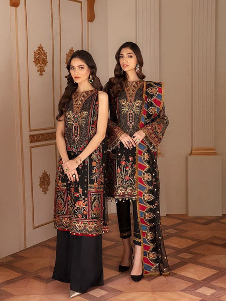 Baroque Chantelle Embroidered Chiffon 2020 3 Piece Suit D-04 Sable