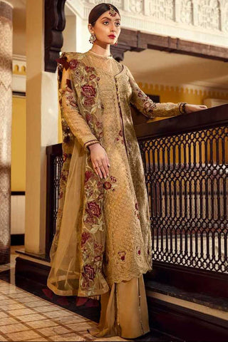 Epoque Embroidered Organza Unstitched 3 Piece Suit EP20A 04 Mystic Gold - Luxury Collection