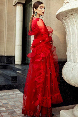 Epoque Embroidered Organza Unstitched 3 Piece Suit EP20A 05 Crimson Weaves - Luxury Collection