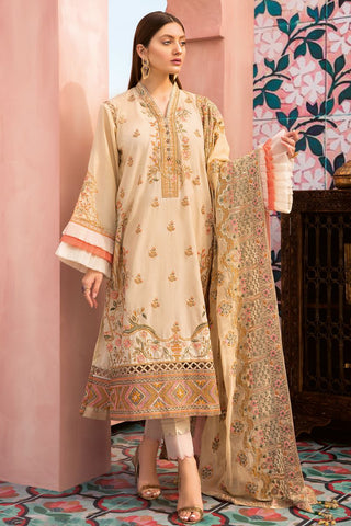 Gul Ahmed 3 PC Unstitched Embroidered Lawn Suit with Chiffon Dupatta PM-323