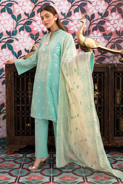 Gul Ahmed 3 PC Unstitched Embroidered Lawn Suit with Chiffon Dupatta PM-354