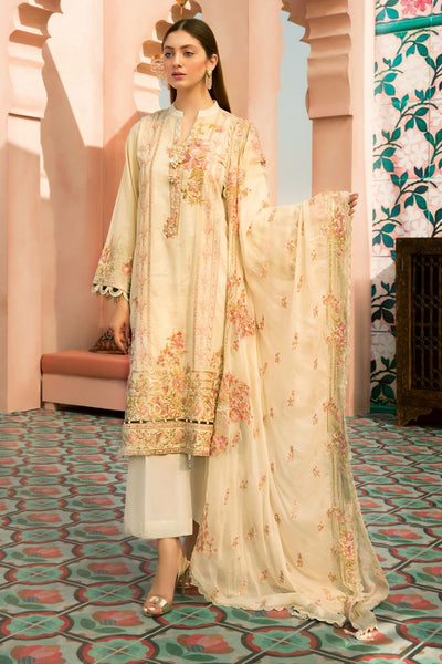 Gul Ahmed 3 PC Unstitched Embroidered Lawn Suit with Chiffon Dupatta PM-353