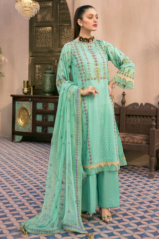 Gul Ahmed 3 PC Unstitched Embroidered Lawn Suit with Chiffon Dupatta PM-347