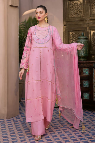 Gul Ahmed 3 PC Unstitched Embroidered Lawn Suit with Chiffon Dupatta PM-348