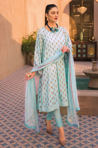 Gul Ahmed 3 PC Unstitched Embroidered Lawn Suit with Chiffon Dupatta PM-349