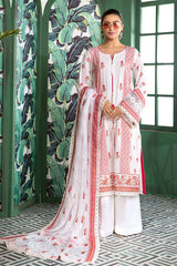 Gul Ahmed 3 PC Unstitched Embroidered Lawn Suit with Chiffon Dupatta LSV-19