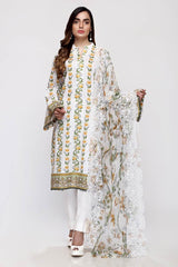 Gul Ahmed 3PC Unstitched Embroidered Lawn Suit with Chiffon Dupatta BCT-22