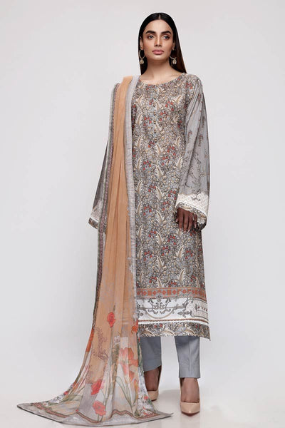 Gul Ahmed 3PC Unstitched Lawn Suit with Chiffon Dupatta BM-151