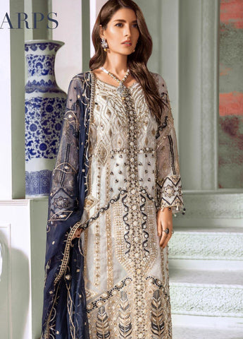 Maryum N Maria Embroidered Organza Unstitched 3 Piece Suit MNM20C 01 Perl Harps - Luxury Collection