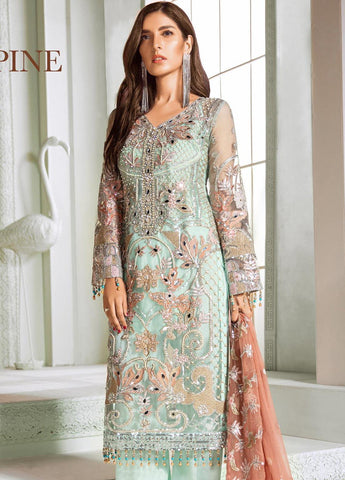 Maryum N Maria Embroidered Net Unstitched 3 Piece Suit MNM20C 05 Haze Pine - Luxury Collection