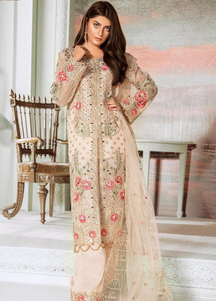 Maryum N Maria Embroidered Organza Unstitched 3 Piece Suit MNM20C 06 Rust Nile - Luxury Collection