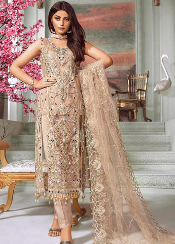 Maryum N Maria Embroidered Net Unstitched 3 Piece Suit MNM20C 08 Peach Flinch - Luxury Collection