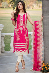 Motifz 2451-HOT-PINK EMBROIDERED LAWN UNSTITCHED
