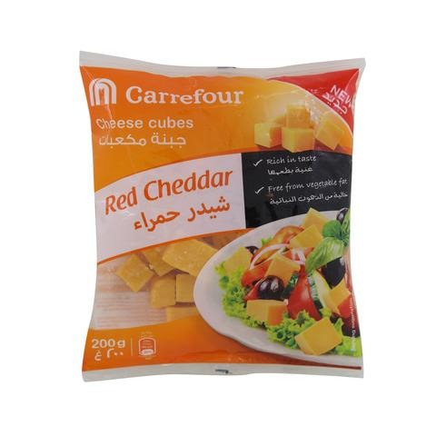 Carrefour Red Cheddar Cheese Cubes 200g - 2kShopping.com - Grocery | Health | Technology