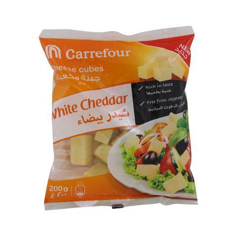 Carrefour White Cheddar Cheese Cubes 200g - 2kShopping.com - Grocery | Health | Technology