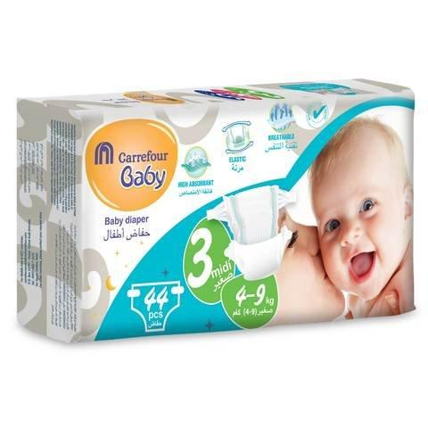 Carrefour Size 3 Midi 4 to 9 kg Baby Diaper 44 Count - 2kShopping.com - Grocery | Health | Technology