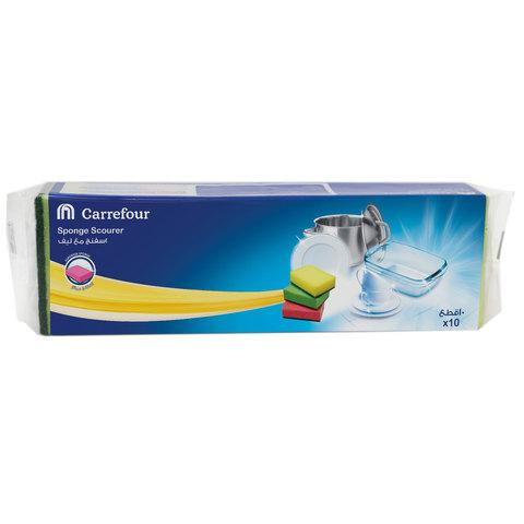 Carrefour Combo Grooved Sponge Scourer 10 Pieces... - 2kShopping.com - Grocery | Health | Technology