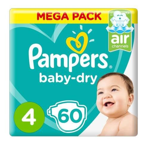 Pampers Baby-Dry Diapers, Size 4, Maxi, 9-14kg, Mega Pack, 60 Count - 2kShopping.com - Grocery | Health | Technology
