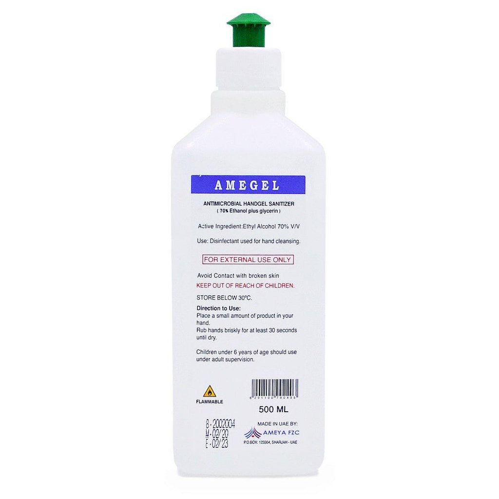Amegel Hand Sanitizer Bottle 500 ML - 2kShopping.com - Grocery | Health | Technology