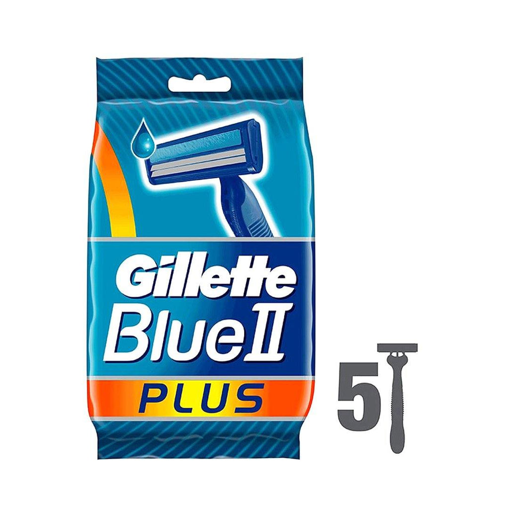 Gillette Blue II Plus Men's Disposable Razors Pack of 5 - 2kShopping.com - Grocery | Health | Technology